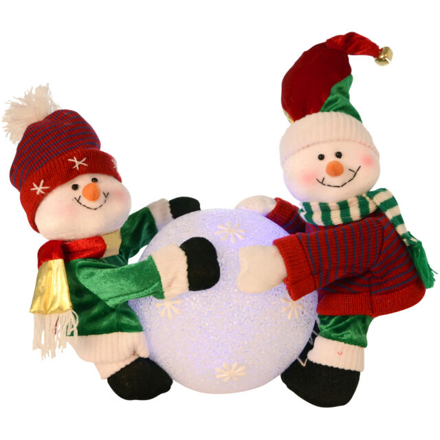 Christmas Decoration Snowman Playing With Colour Changing Giant Snowball