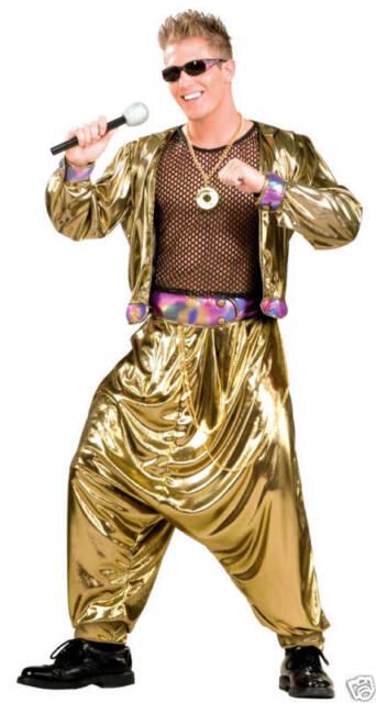 Mens 80s 90s Pop Rap Star Rapper MC Hammer Music Gold Singer Fancy Dress Costume