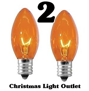 2 c7 orange xmas halloween light glass bulbs 5 watt transparent