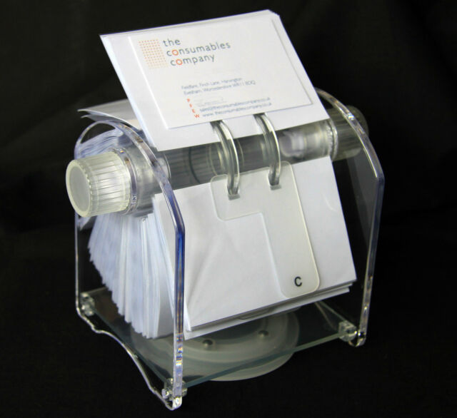Stylish Rotary Business Card File Clear Sleeves 400 Cards Holder