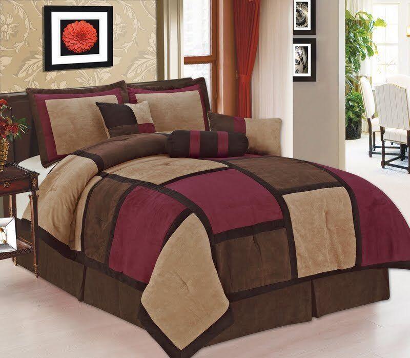 7 pc burgundy brown u0026 beige suede patchwork queen size comforter set california king ebay