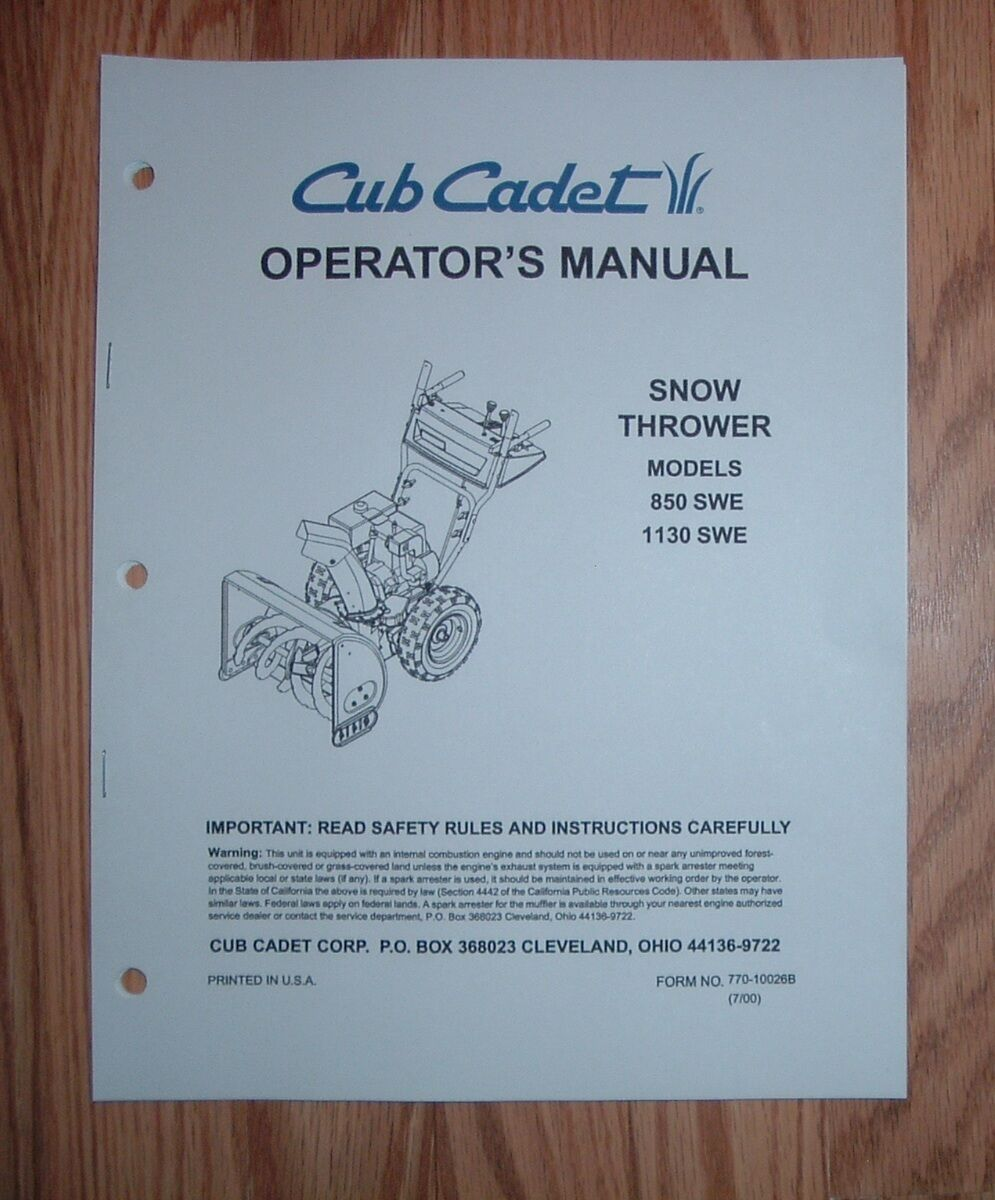 cub cadet 850 swe snow thrower operator s manual with illustrated