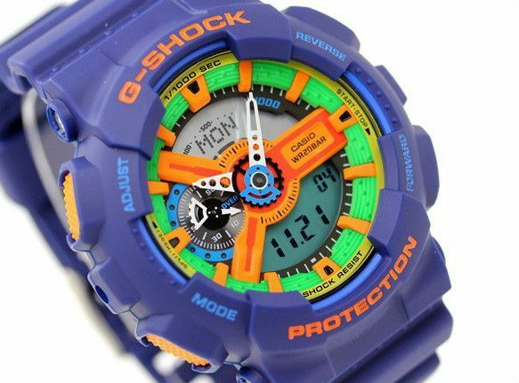 CASIO G-Shock GA110FC-2A GA-110FC-2A Blue Analog Digital XLarge 200m !