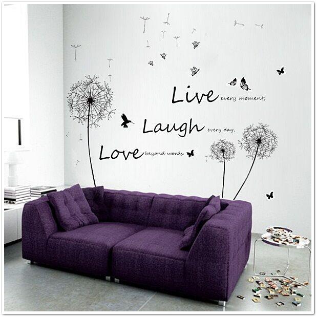 HUGE Dandelion Live Laugh Love Butterflies Children Wall Stickers Mural  Paper Part 66
