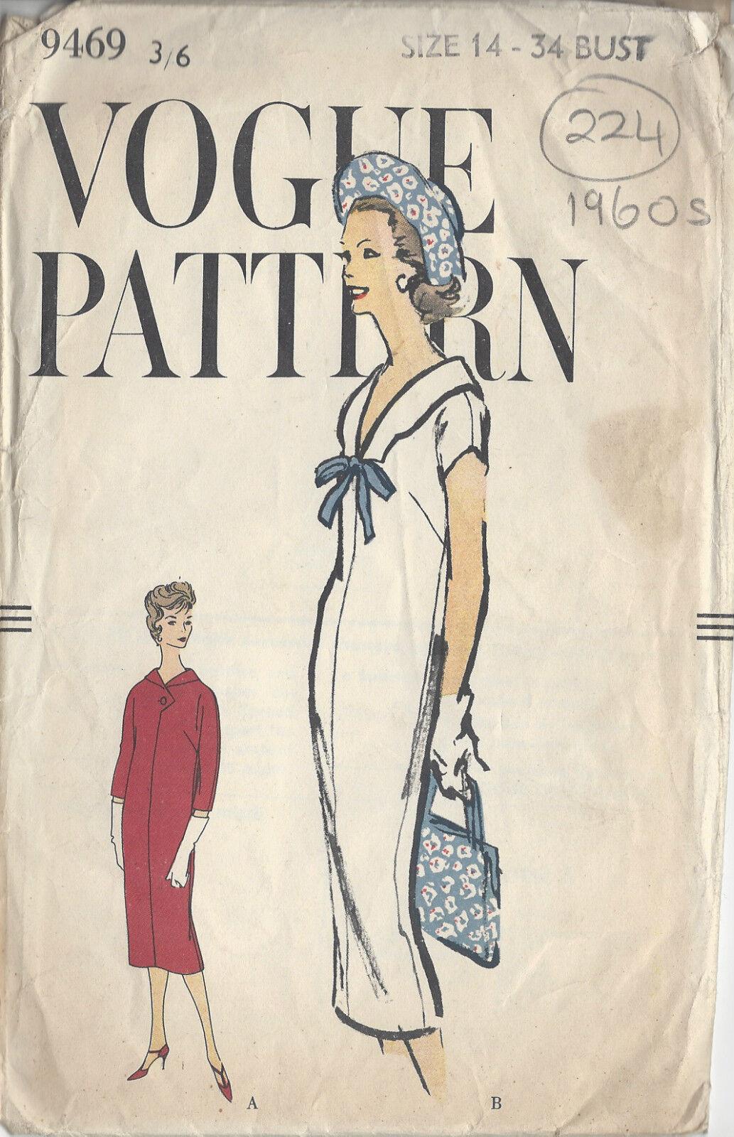 Nähen Schnittmuster 1960 er Vintage Vogue B 34 Kleid 224   eBay