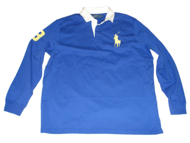 38b3f8df2e381e Polo Ralph Lauren Big Pony Blue Yellow Rugby Shirt S