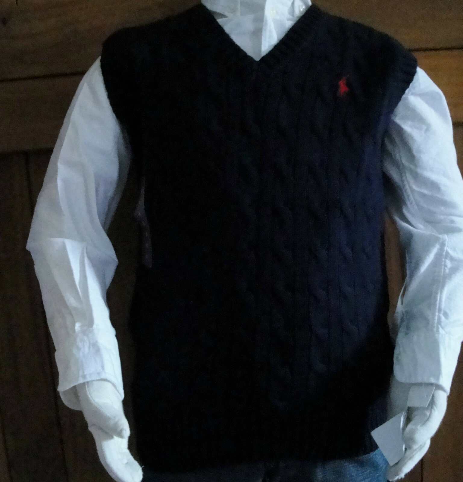Ralph Lauren Boys Navy Blue Cotton Cable V Neck Sweater Vest 2/2t ...