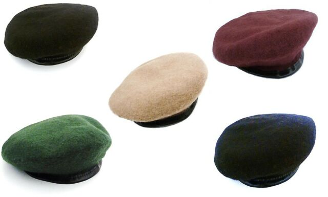 5bf84b68bb75a3 GENUINE 100% WOOL ARMY BERETS 5 colours Mens & Ladies S-XL forces military