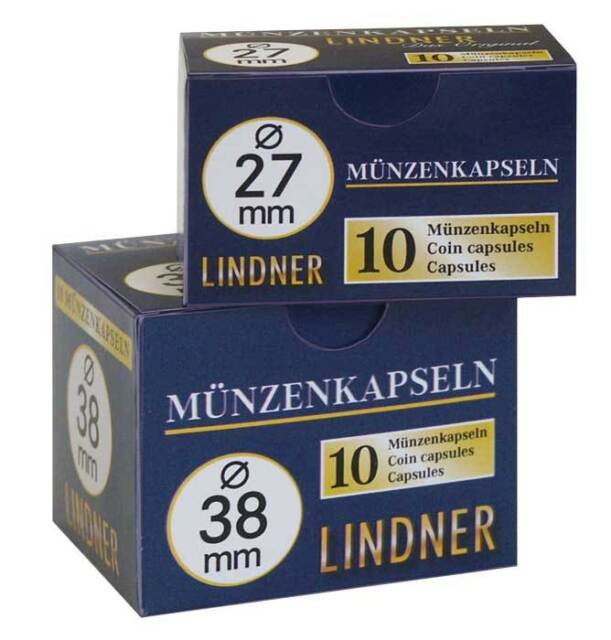 LINDNER Münzen - Kapseln = Münzdosen = Münzkapseln 10erPack   14-34mm