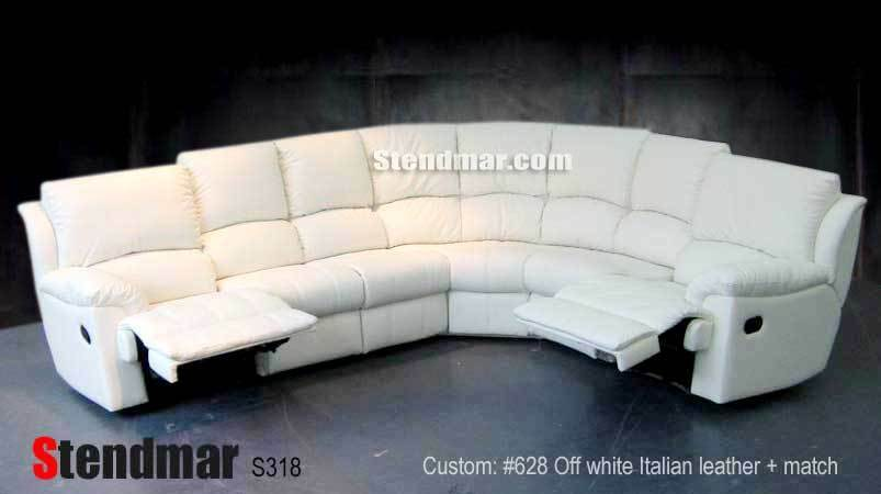 6pc Leather Sectional Sofa 2 recliners S318