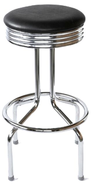 RETRO Bar Stool 1950s Vintage Diner Style Swivel Chrome And Black WHOLESALE
