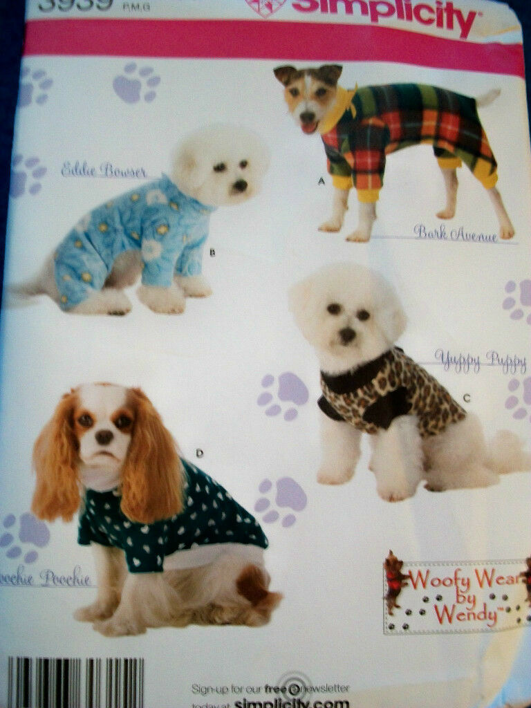 S3939 Dog Coats Woofy Wear by Wendy simplicity 3939 Sewing Pattern ...