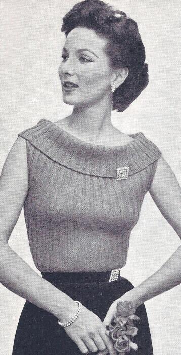 Vintage Knitting Pattern To Make Ribbed Sweater Boat Neck Collar