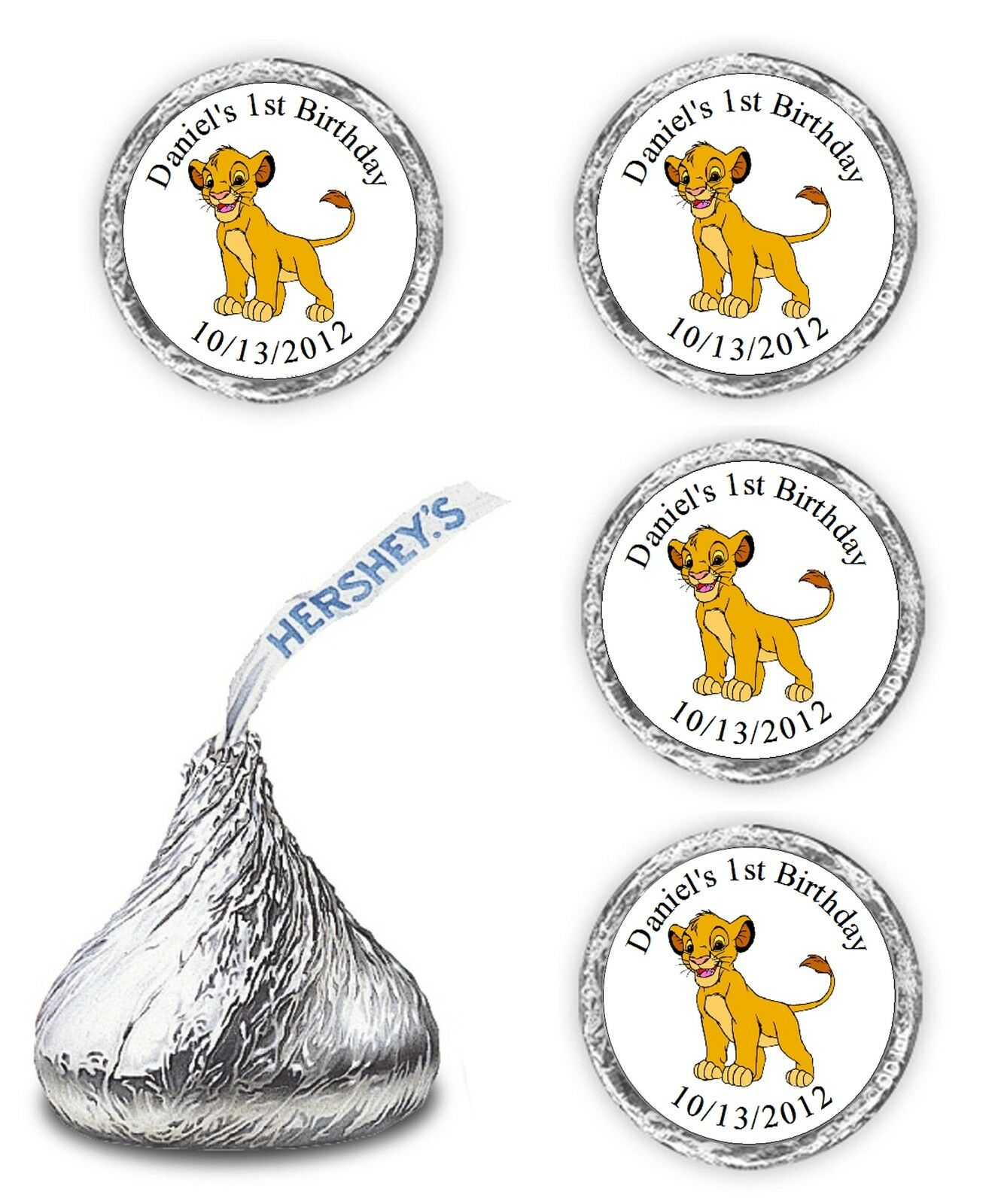 108 Lion King Birthday Party Candy Kisses Favors Wrappers Stickers ...