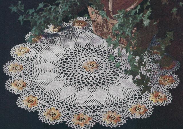 Vintage Crochet Pattern To Make Ivy Irish Rose Doily Centerpiece Mat