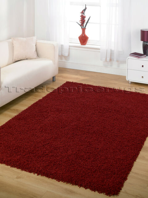 X Extra Large Thick Modern Dark Red Gy Rug 200x290