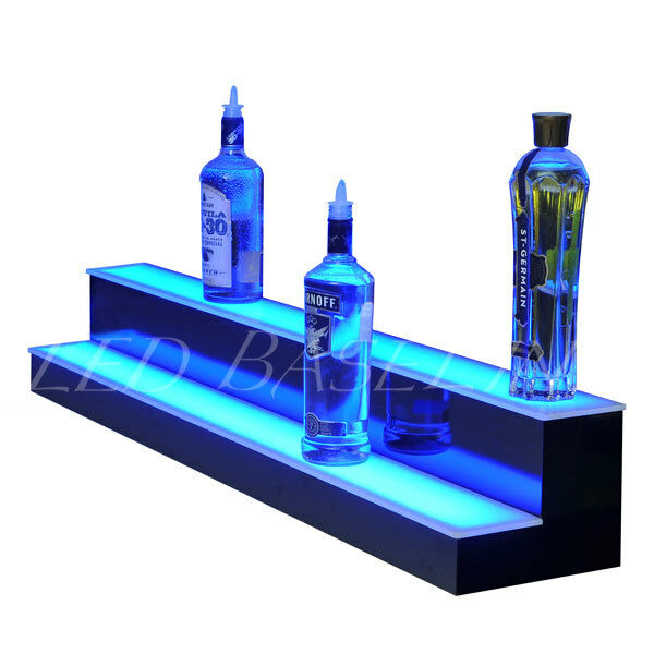 40 2 step led lighted glowing liquor bottle display shelf home 40 2 step led lighted glowing liquor bottle display shelf home back bar rack mozeypictures Gallery