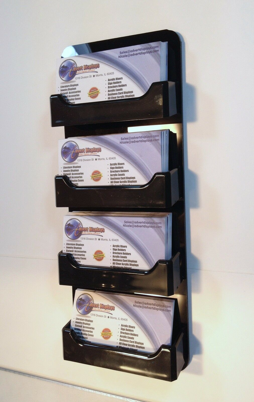 4 pocket horizontal wall mount business card holder all black picture 1 of 2 reheart Choice Image