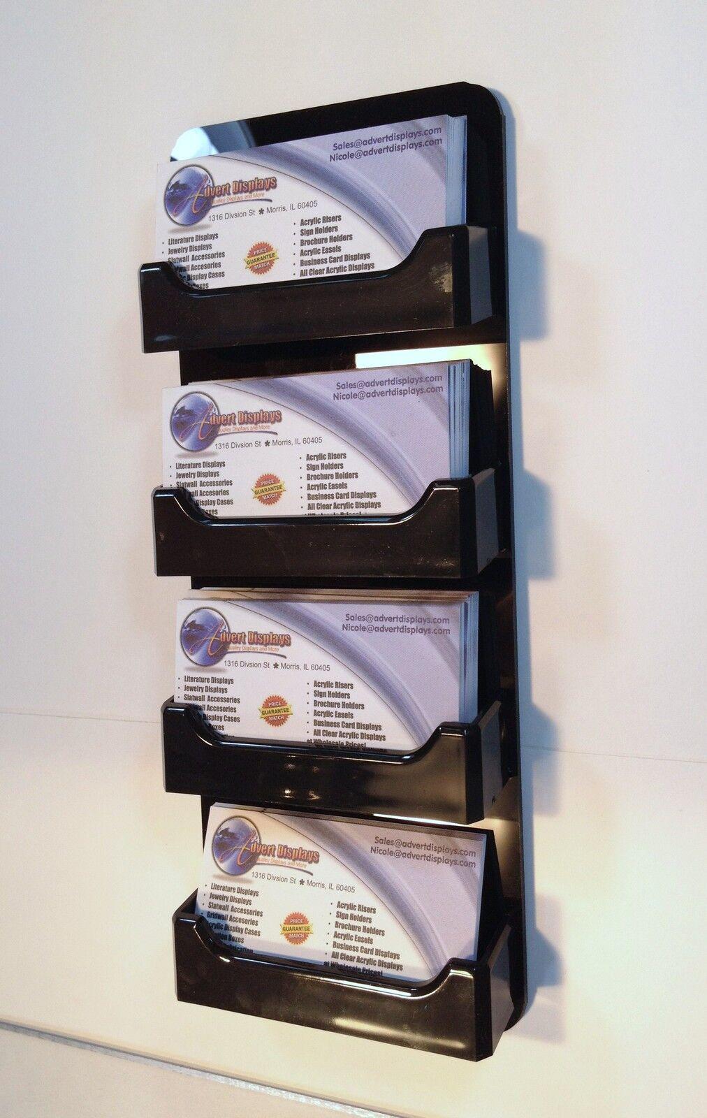 4 Pocket Horizontal Wall Mount Business Card Holder All Black ...
