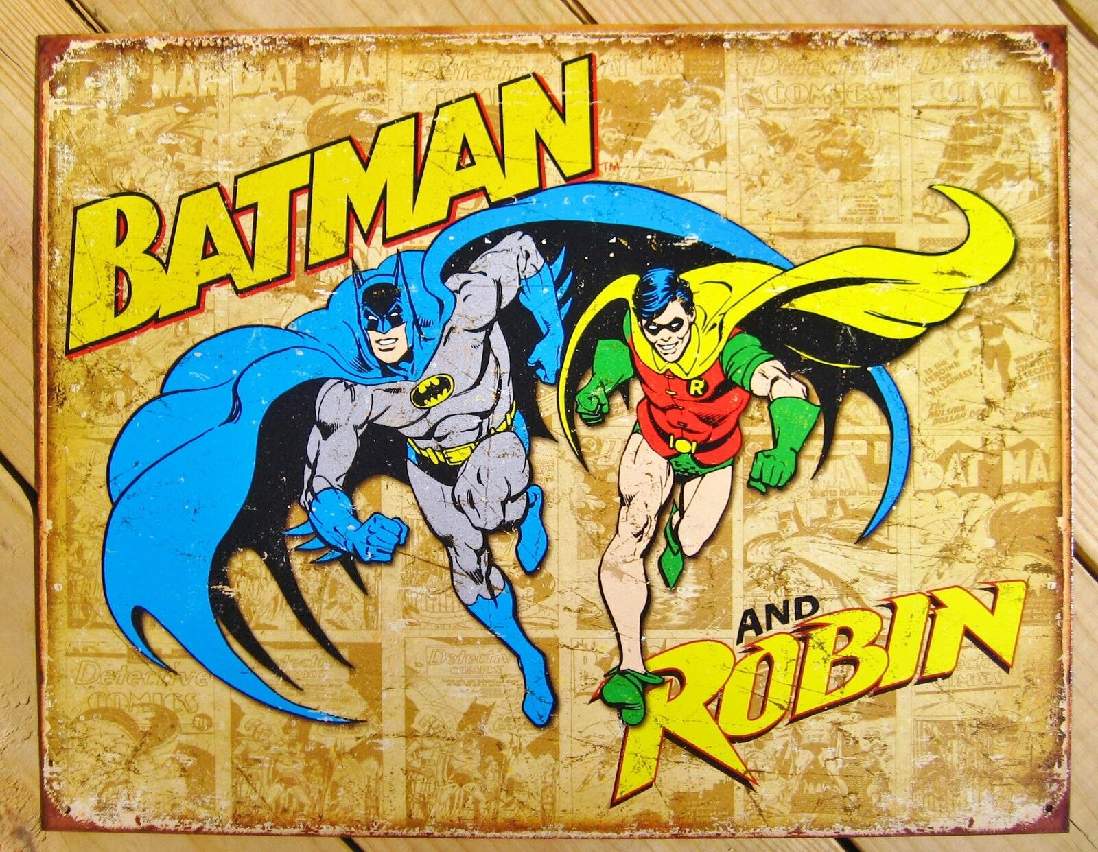 Batman and Robin Tin Sign Vtg Retro Metal Wall Decor DC Comics ...