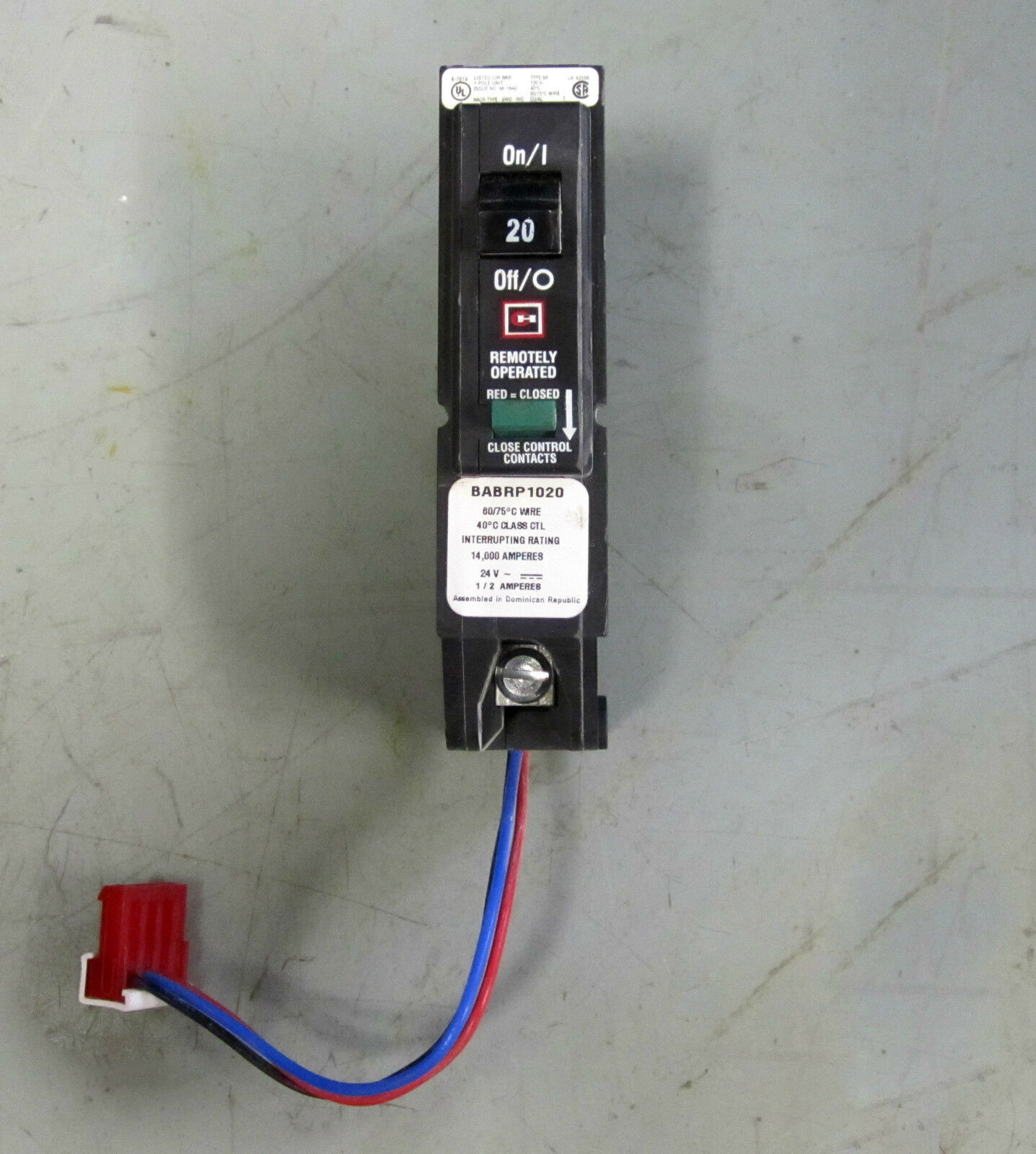 Cutler Hammer Remotely Operated 20 Amp Breaker Single Pole Babrp1020 ...