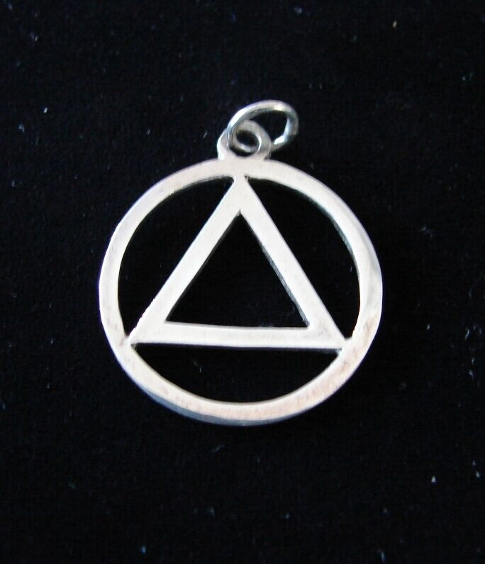Sterling Silver Alcoholics Anonymous Aa Symbol Flat 13 16 Pendant
