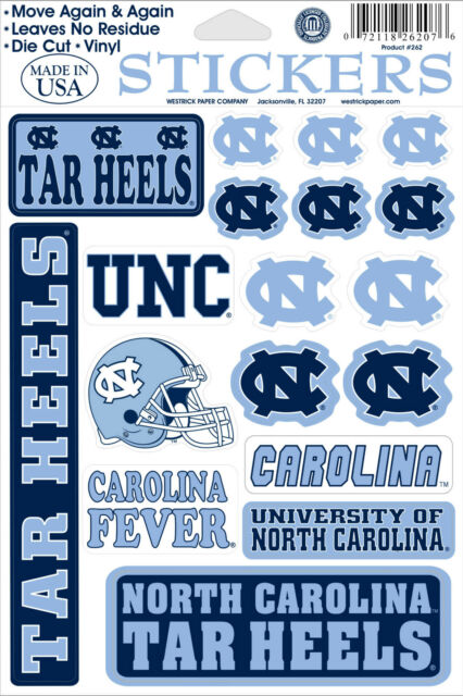North carolina tar heels vinyl die cut sticker decals 18 per sheet