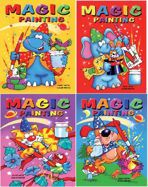 SET OF 4 X A5 MAGIC PAINTING COLOURING BOOKS CHILDRENS NO MESS CRAFT SERIES 910