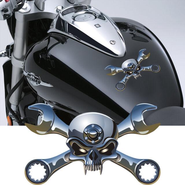 Motorbike Skulls And Crossed Spanner Decals Motorcycle Stickers - Motorcycle stickersmotorcycle stickers ebay