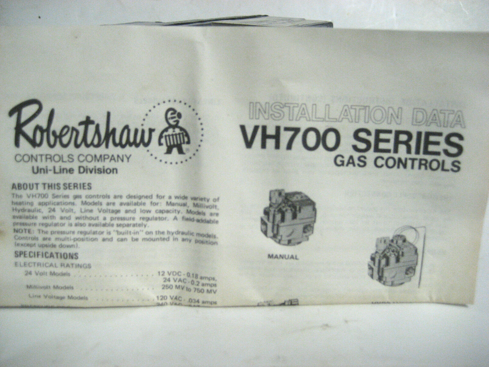 Robertshaw Vh 700 Gas Control Nos Ebay Ignition Module Wiring Diagram Picture 1 Of 6
