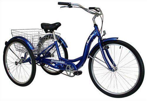 Adult Tricycle 26 Schwinn Bike Folding Basket Bicycle 3 Wheel
