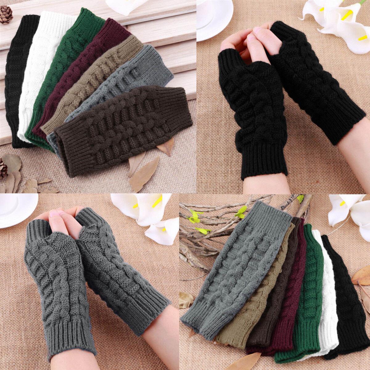 Mens gloves fashion - Fashion Men Women Knitted Fingerless Winter Gloves Soft Warm Mitten Solid Fast