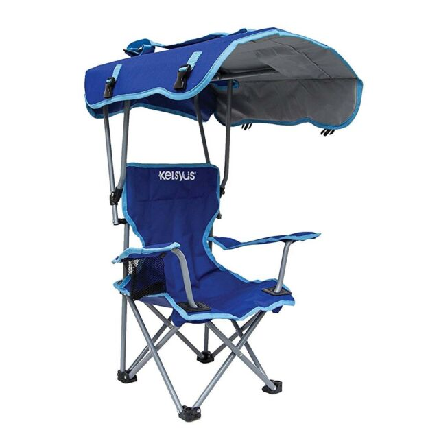 Kelsyus Kids Original Canopy Folding Backpack Lounge Chair Blue | 80316  sc 1 st  eBay & Kelsyus 80316 K Kids Canopy Chair Blue Gray Chairs Stools Folding ...