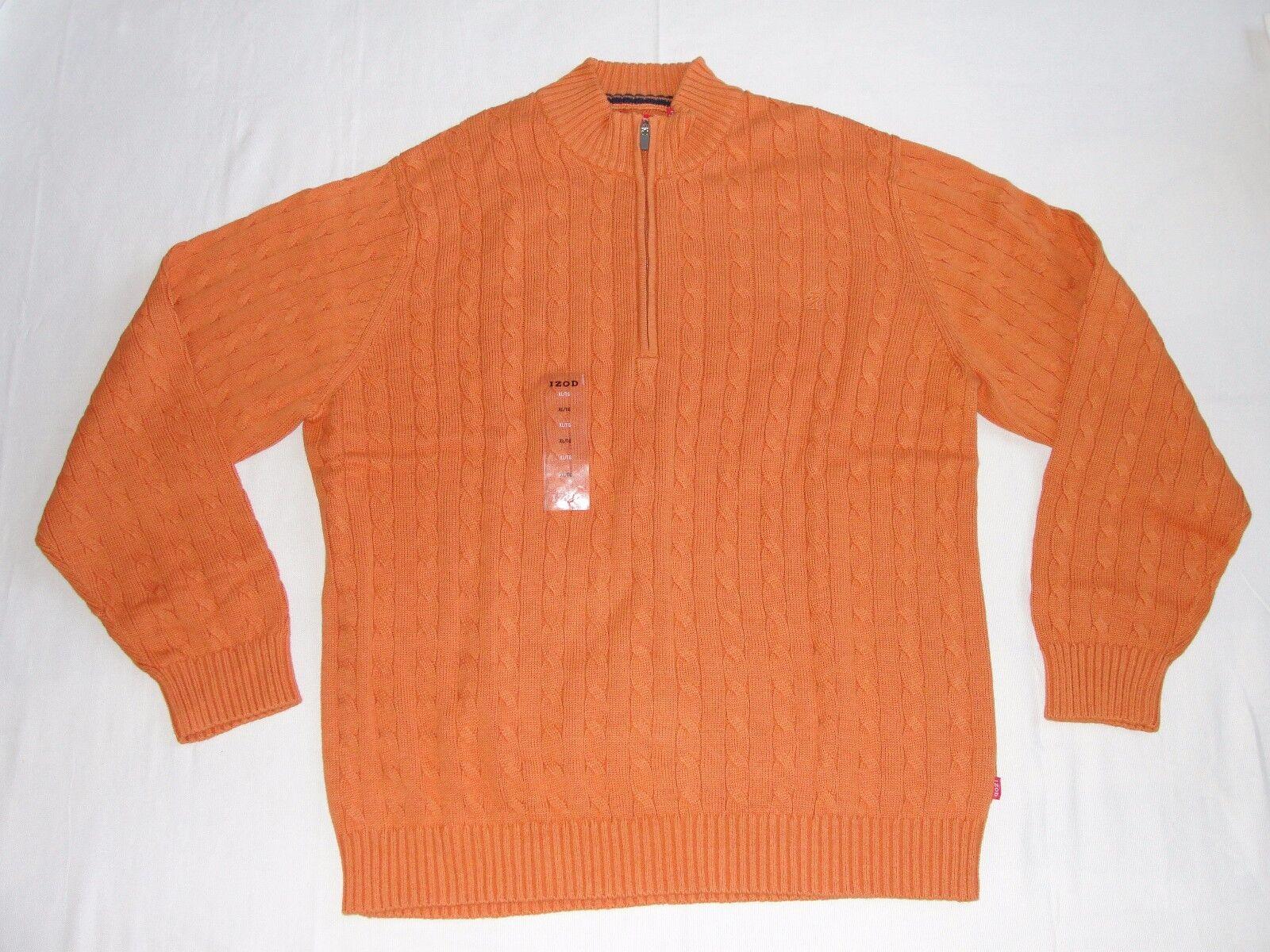 Men\'s IZOD Cable Knit Sweater 1/4 Zip Apricot Orange Size XL   eBay