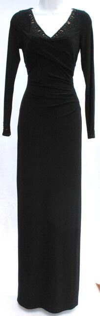Ralph Lauren Elegant Evening Gown Formal Dress Beaded V Neckline Sz ...