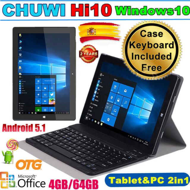 "4GB+64GB 10,1"" CHUWI Hi10 Tableta PC Win10 Android 5.1 Tablet PAD +Funda Teclado"