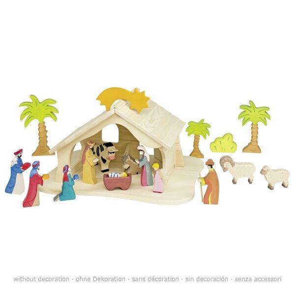 Holztiger - Krippe / Stall in Naturholz - Weihnachtskrippe (ohne Dekoration)