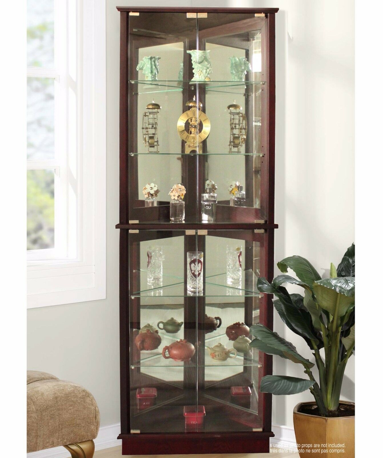 Lighted Curio Cabinet Storage Tall Corner 5 Shelves Mirrored ...