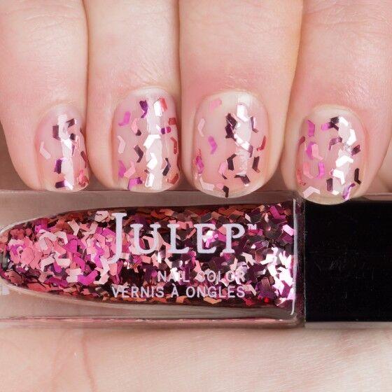 Julep Nail Color Treat Polish Bombshell Pink Chevron Glitter Top ...