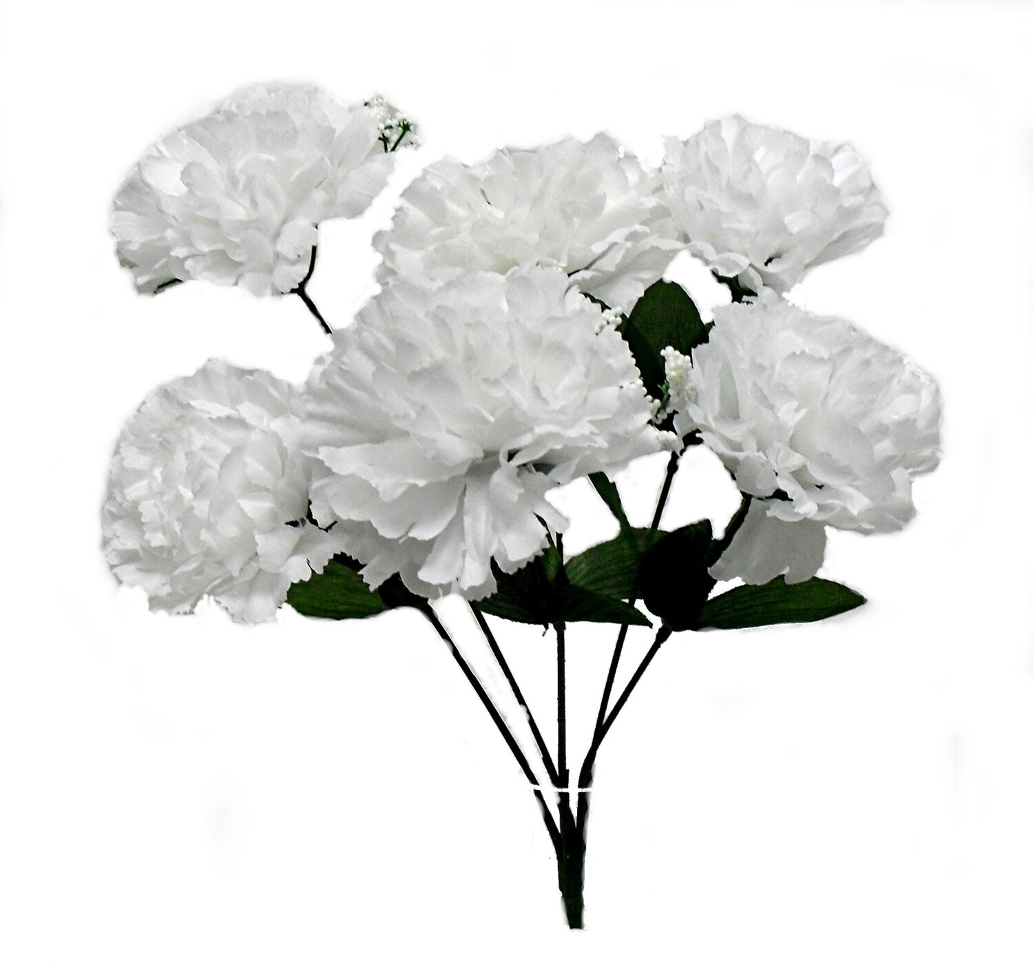 6 White Carnations Silk Wedding Flowers Bridal Bouquets Centerpieces ...
