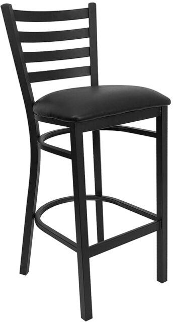 Flash Furniture HERCULES Series Black Ladder Back Metal Bar Stool New