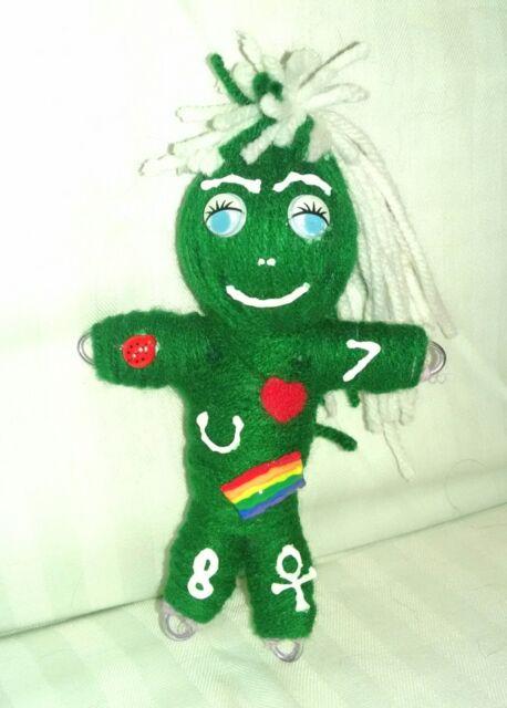 Green Poppet Money Good Luck Symbols Spell Instruction Voodoo Doll