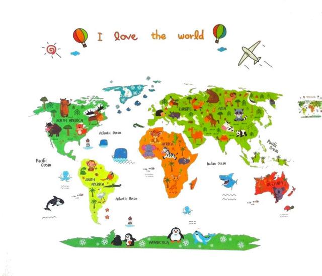 Animal World Map Kids Educational Nursery Wall Art Stickers Decal - World map wallpaper for nursery