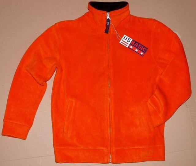 US BASIC Kinder Fleece Jacke Nashville Reißverschluss Neon Orange Gr.128 L2