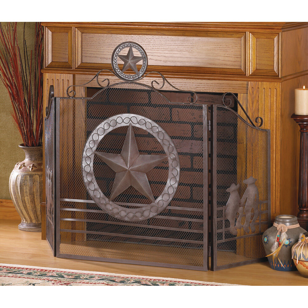 koehler 12569 35in brown lone star fireplace screen ebay