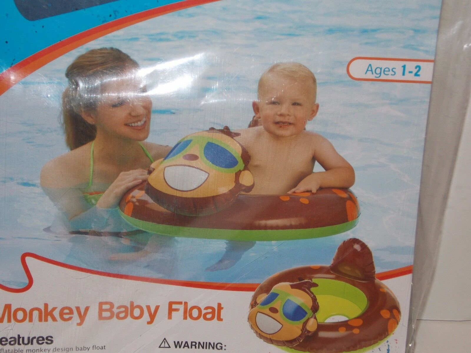 O\'rageous Monkey Inflatable Float Swimming Seat Ring for Baby Ages 1 ...