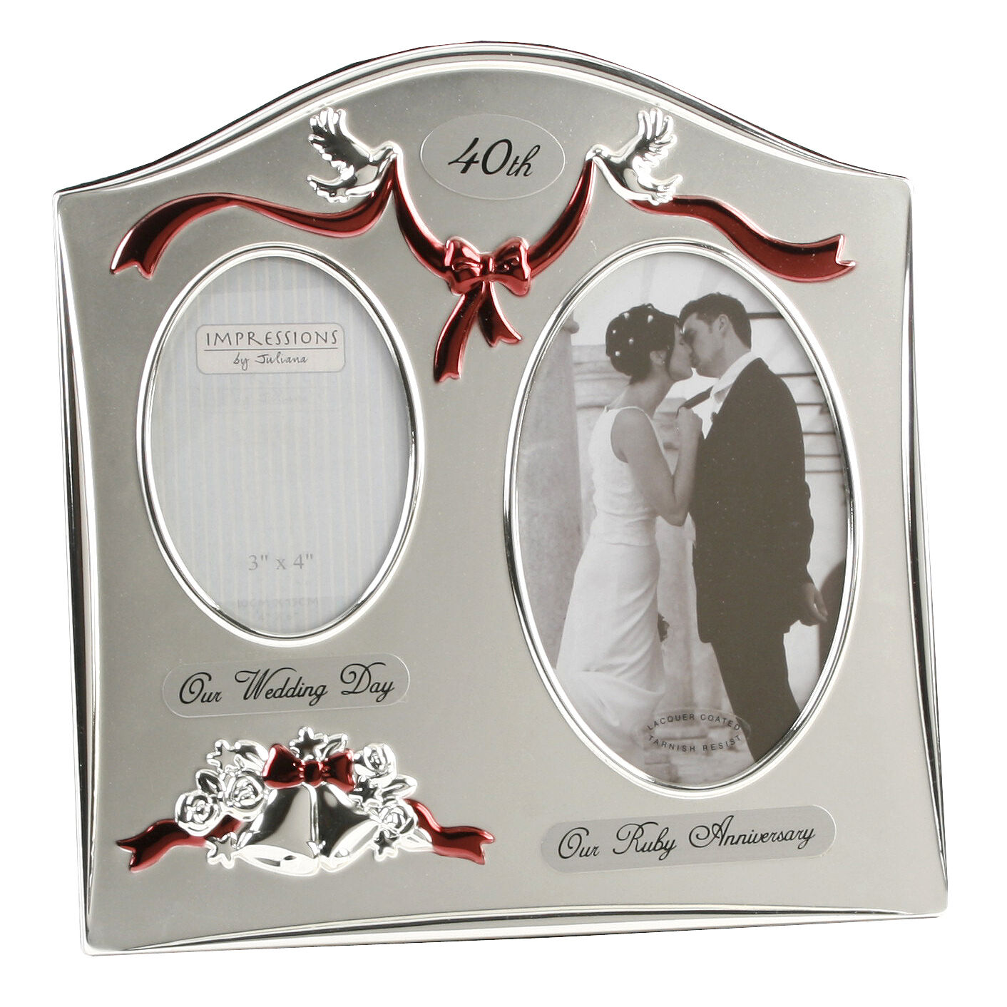 40th Ruby Wedding Anniversary Silver Plated Double Photo Frame Gift ...