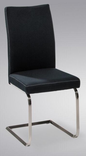 *R5129-02 / Freischwinger Schwingstuhl Stuhl Küchenstuhl Webstoff Schwarz
