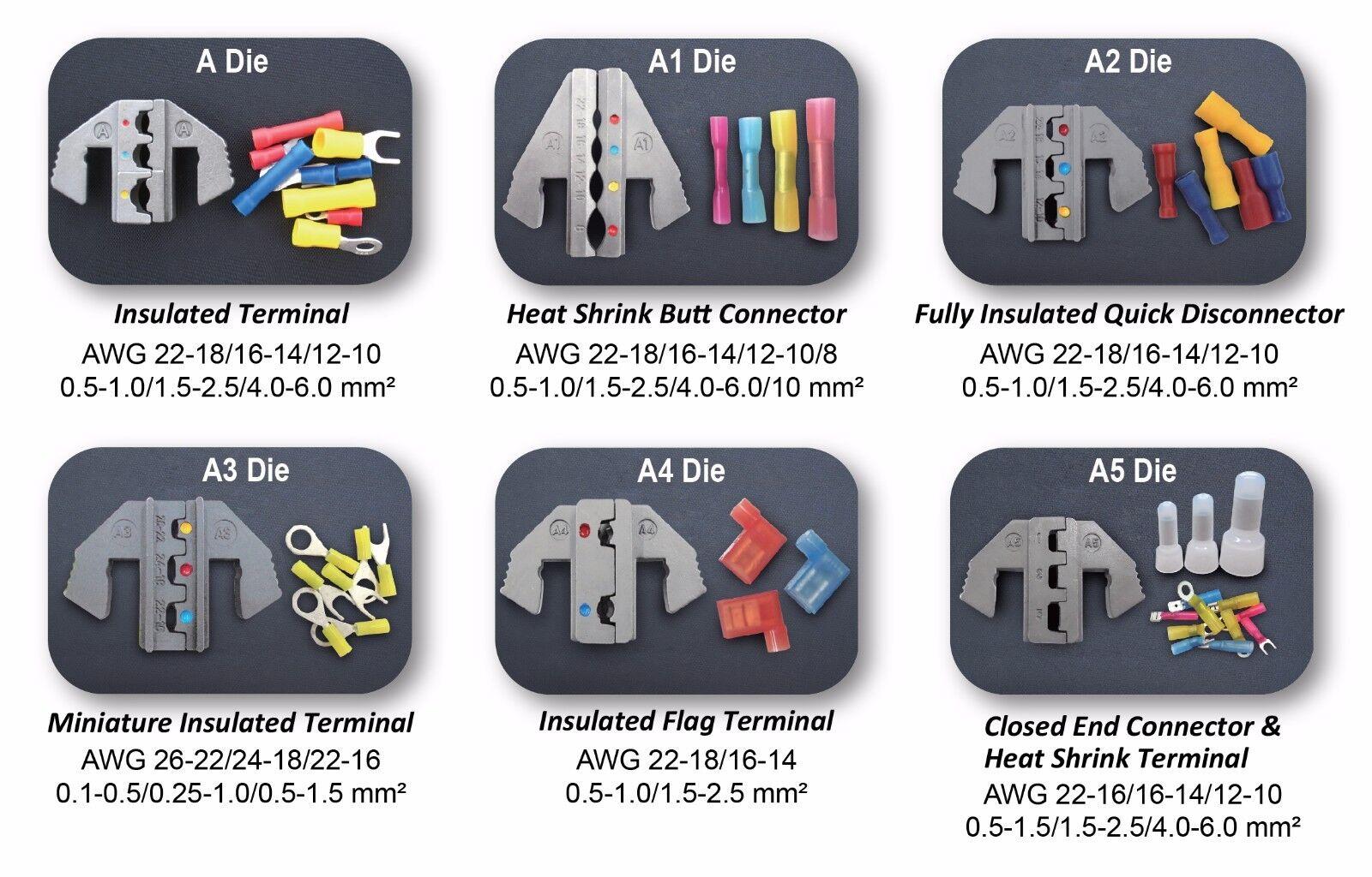 Interchangeable Ratcheting Terminal Crimper Set - 6 Die Sets Quick Change