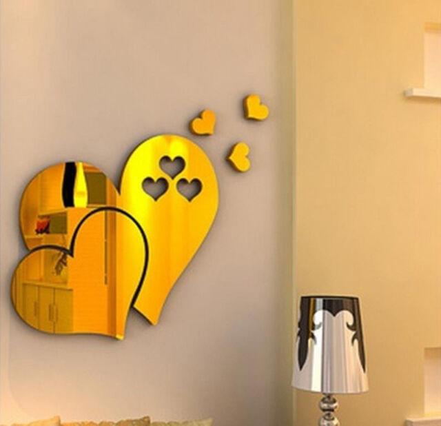 3d DIY Mirror Love Hearts Wall Sticker Home Room Art Mural Decor ...